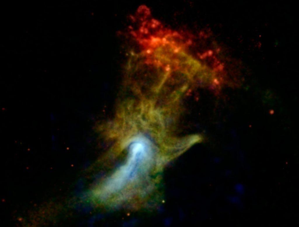 Αυτό το αντικείμενο είναι εύρους 150 έτη φωτός ενεργοποιημένα υπολείμματα ενός αστέρα που έγινε σουπερνόβα πριν από 19.000 χρόνια περίπου. Βρίσκεται στον αστερισμό του Διαβήτη περίπου 17.000 έτη φωτός μακρυά. Αυτή η εικόνα δείχνει ένα νεφέλωμα αερίων πάλσαρ, γνωστό ως το Χέρι Του Θεού. Photo Credit: NASA